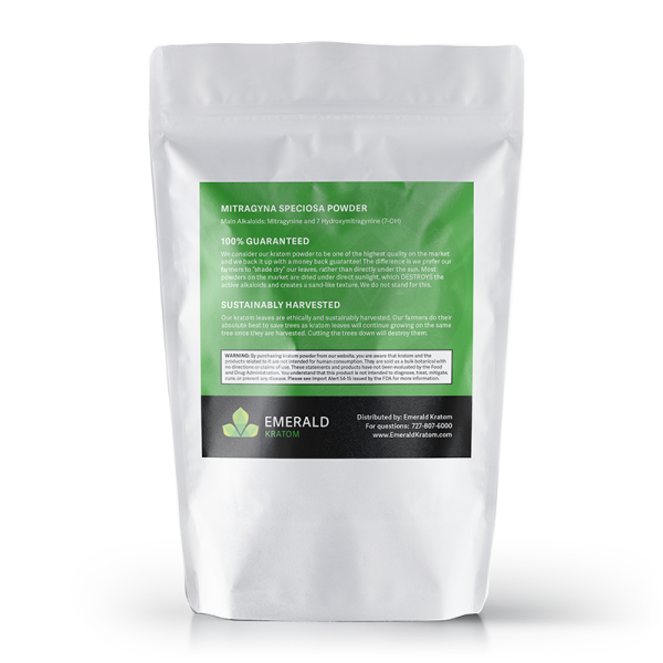 Emerald Kratom Powder 750 Gram Back Bag